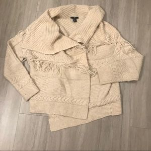 H&M Waterfall Cable Knit Fringe Cardigan